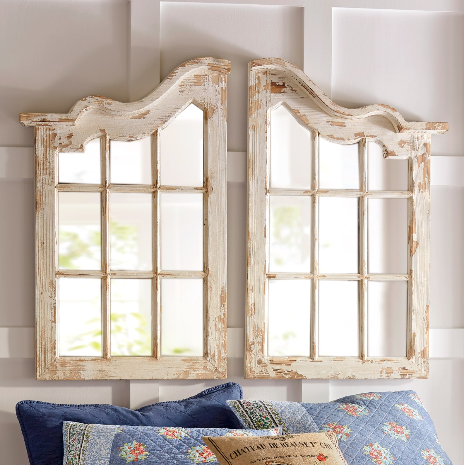 Large Wall Mirrors Windowpane Distressed Wall Mirrors Country Door