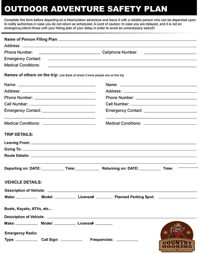 Outdoor Adventure Safety Plan Search and Rescue Form