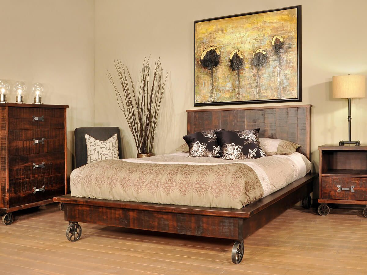 Industrial Bedroom Furniture Pembroke Industrial Chic Bed Countryside Amish Furniture