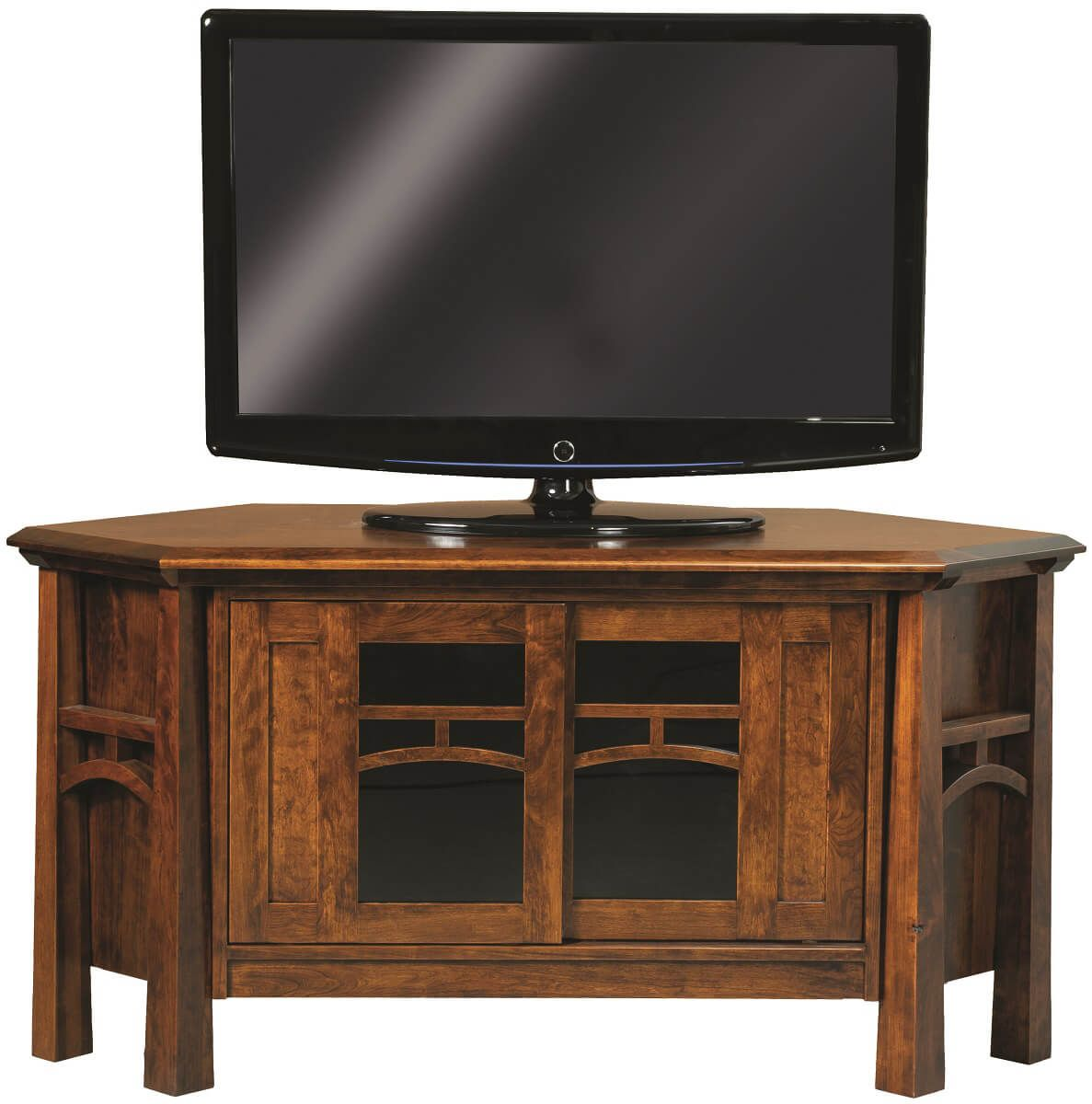 Farmhouse Corner Tv Stand Plans Tahoe Solid Wood Corner Tv Stand Countryside Amish Furniture