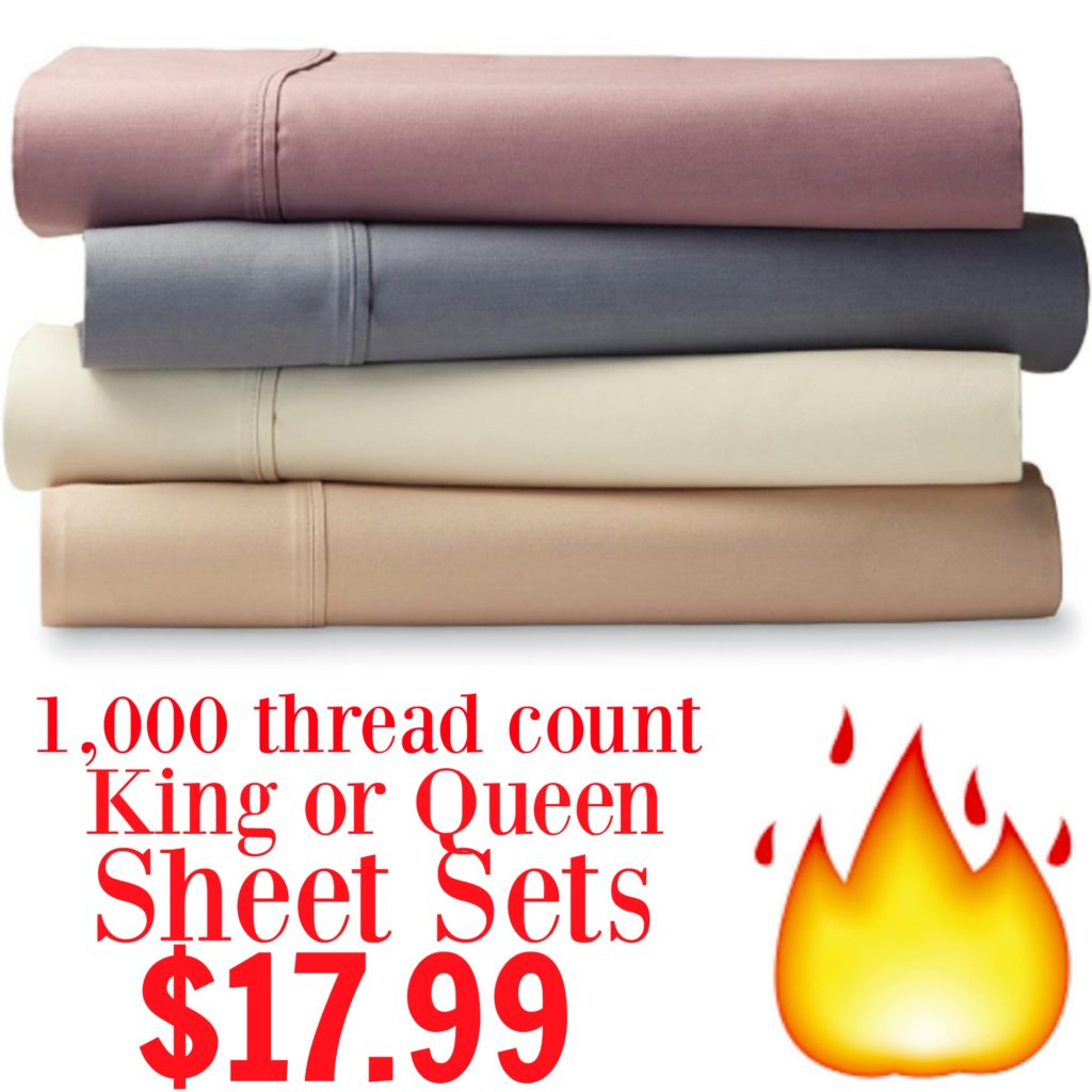1000 Thread Count Sheets King Kmart King Or Queen Sheet Sets Only 17 99 43 Free In