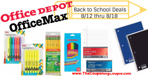 Office Depot OfficeMax Back to School Deals for 8-12 to 8-18-18!