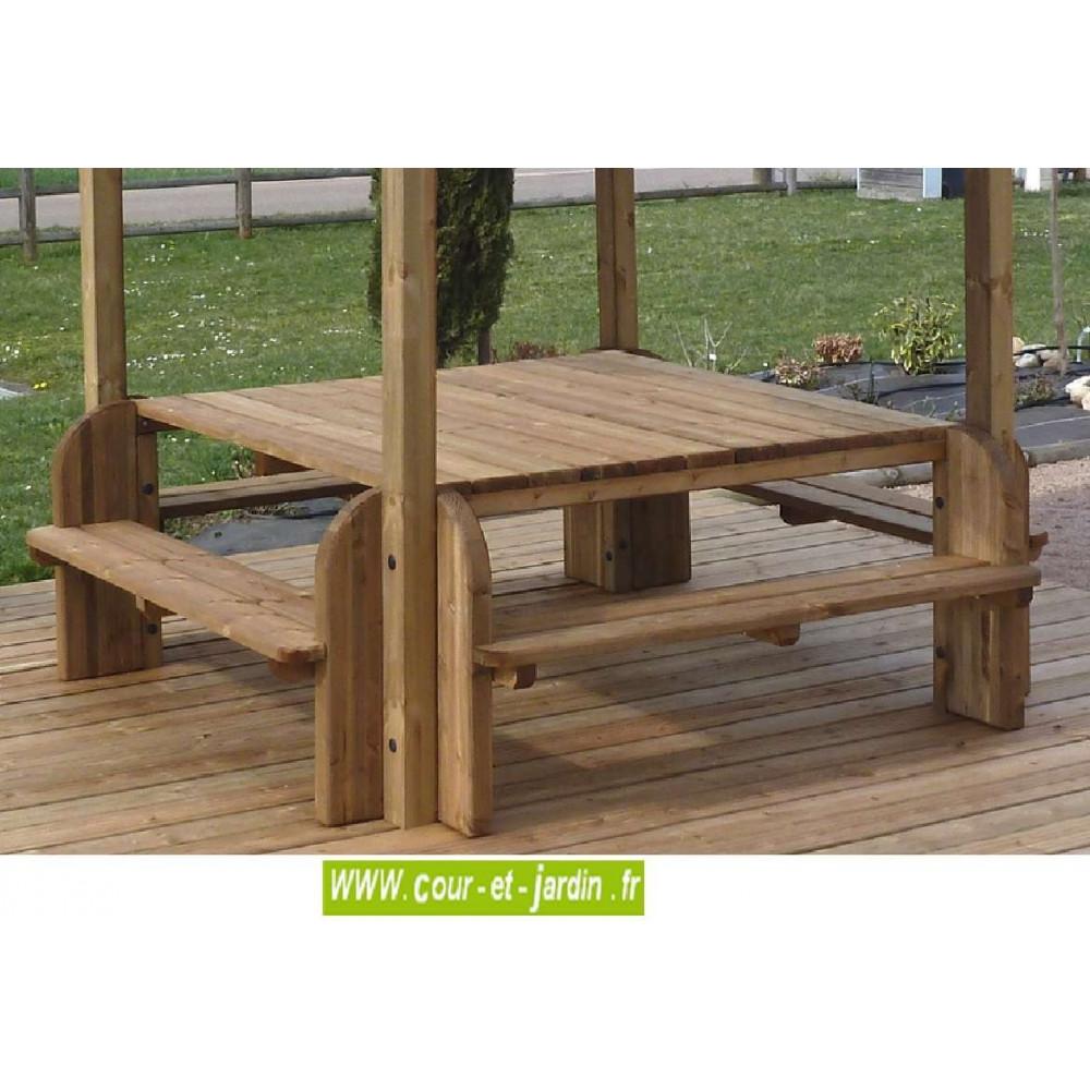 Table De Jardin En Bois Avec Banc | Plan De Table De Jardin En Bois ...