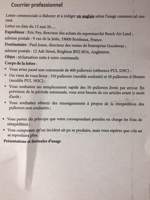 lettre de correspondance exemple