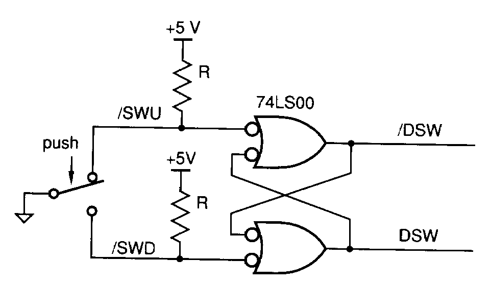use a 74ls00 chip to implement the switch debounce circuit