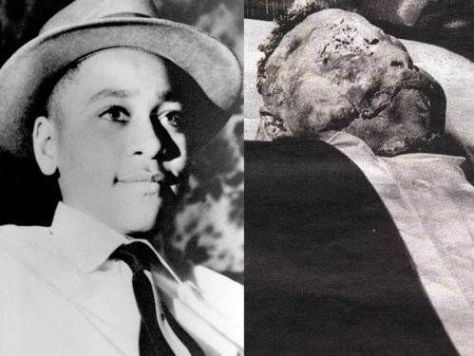 Emmett Till, left, was 14 when he was lynched and murdered by Roy Bryant and his half-brother John Milam after allegedly whistling at Bryant's 21-year-old wife Carolyn. Till's mother Mamie Till-Mobley insisted on an open casket for her son's funeral, right, so America could see what had been done to him.