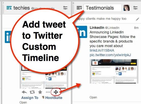 add tweet to twitter custom timeline