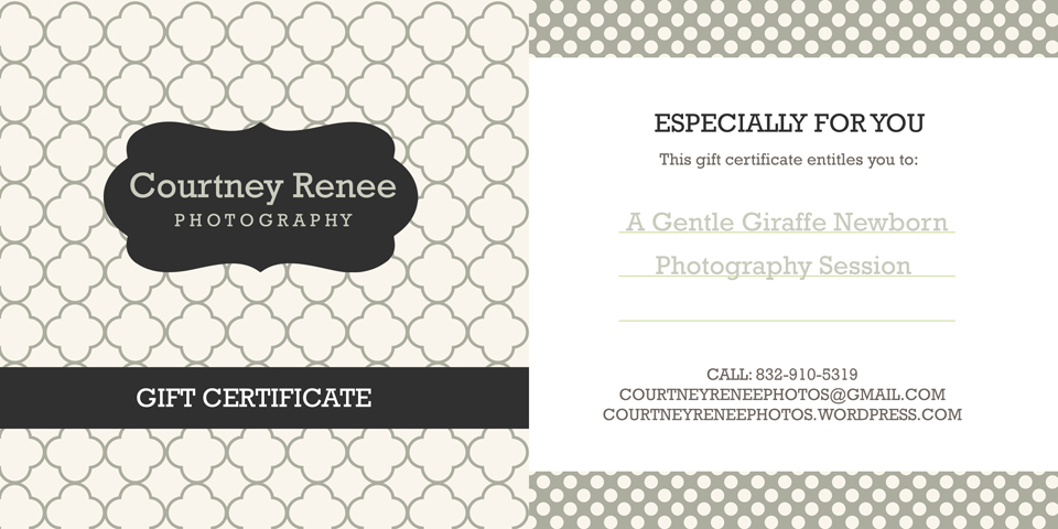 gift certificate Courtney Renee Photography