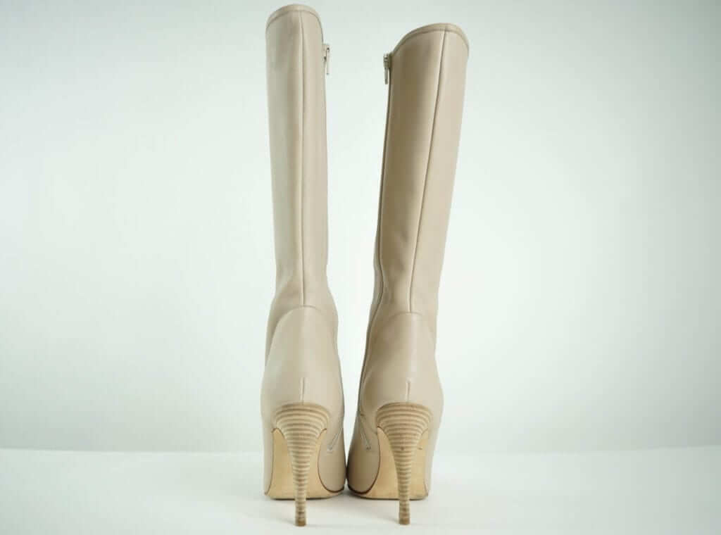 Manolo Blahnik Nude Leather Heeled Boots Couture Blowout