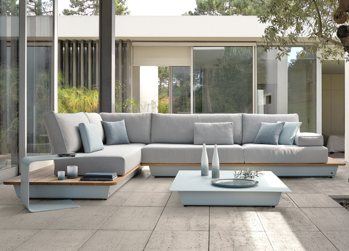Rattan Garnitur Manutti Air Sectional Sofa Lava Iroko Hardwood Modern