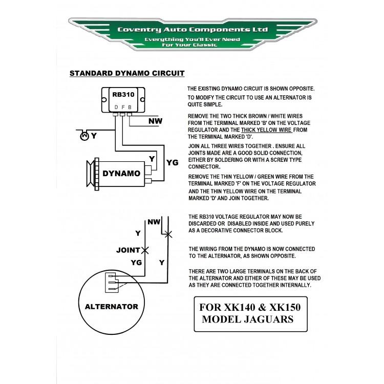 XK140 and XK150 Alternator Kit SE335