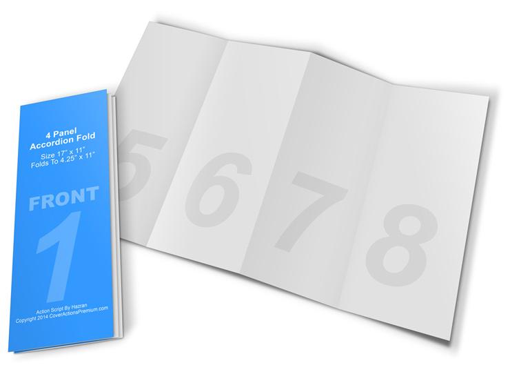 4-Panel Accordion Brochure Mock Up Cover Actions Premium Mockup - accordion fold brochure