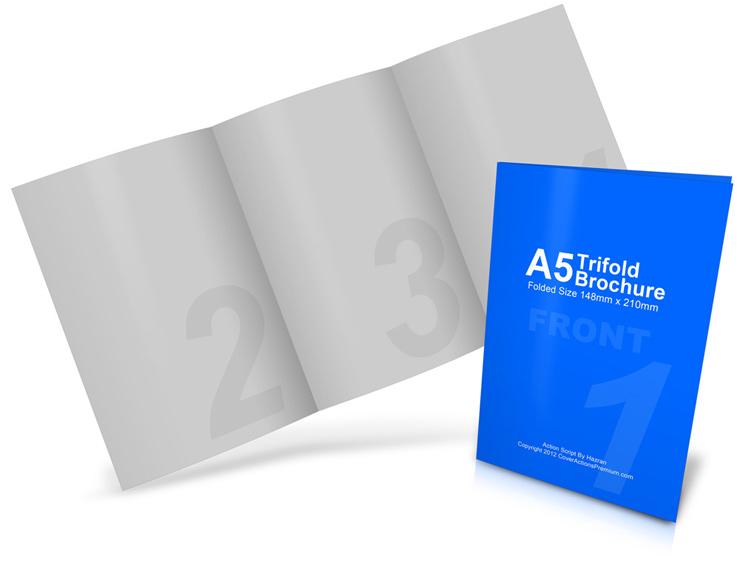 A5 / A4 Tri Fold Brochure Mockup Cover Actions Premium Mockup
