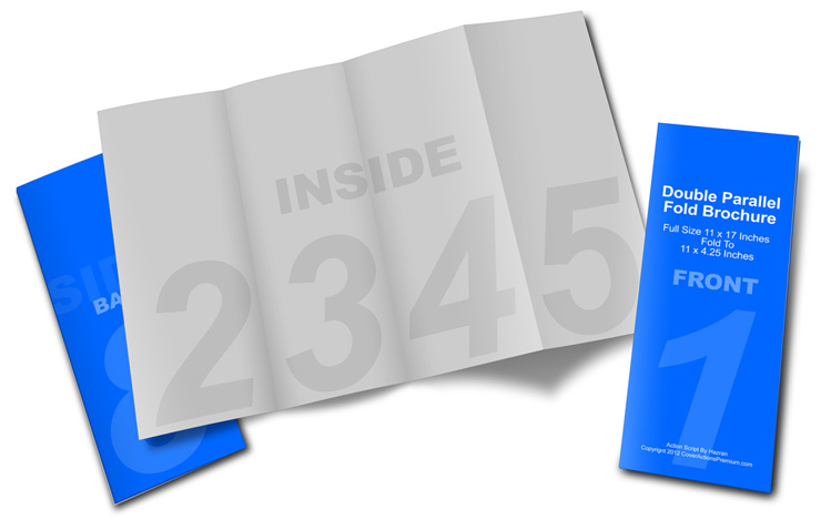Double Parallel Fold Brochure Mockup Cover Actions Premium - gate fold brochure mockup