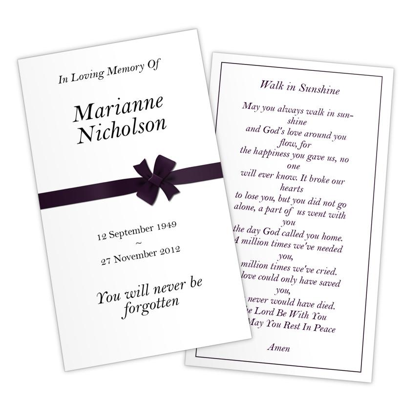 Funeral Prayer Cards Templates Free - prayer card template free