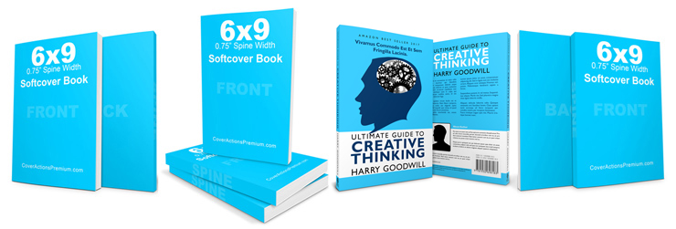 6x9 Paperback Book Mockup Cover Actions Premium Mockup PSD Template