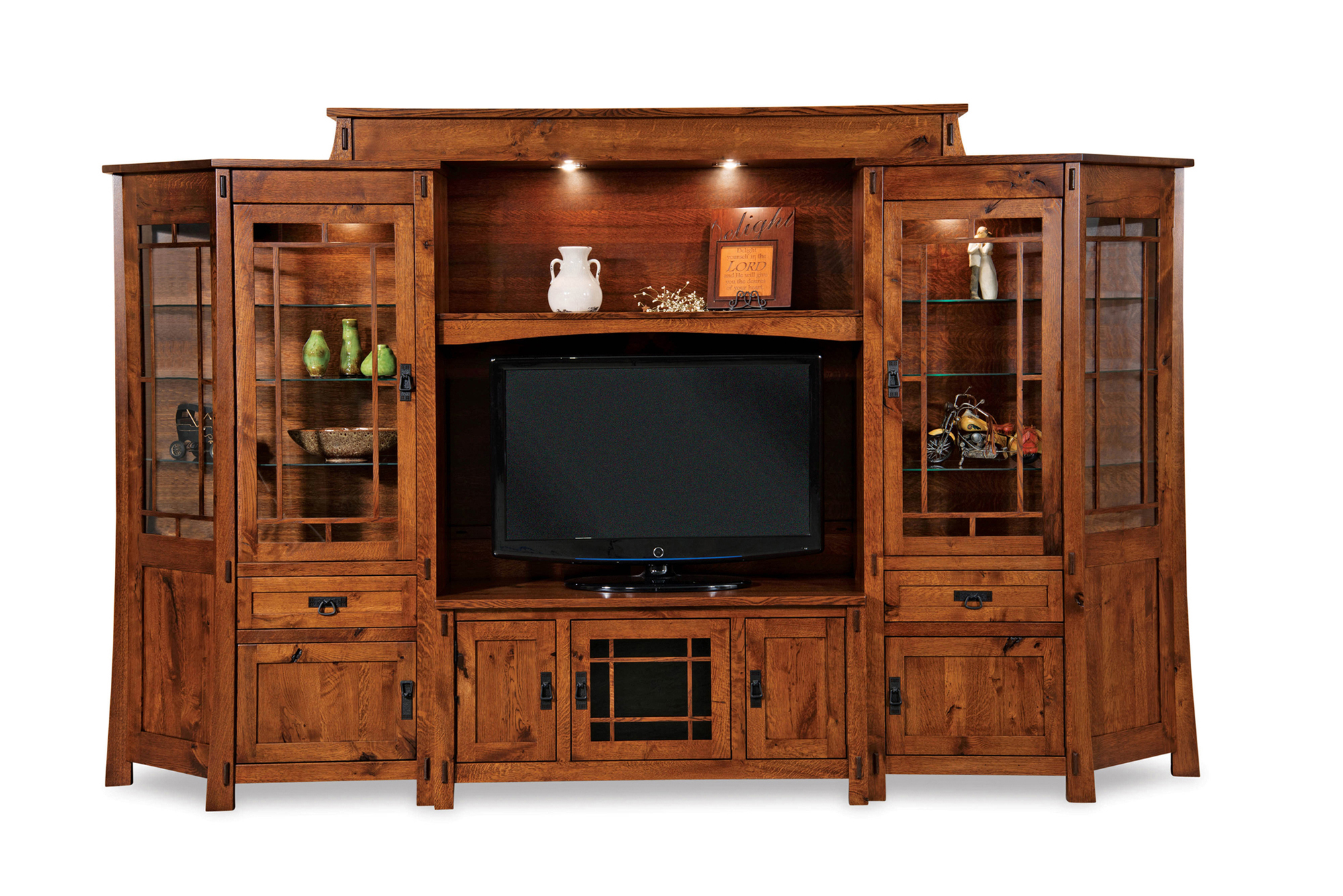 Sofas And Recliners Modesto Home Theater Wall Unit - Amish Furniture Store