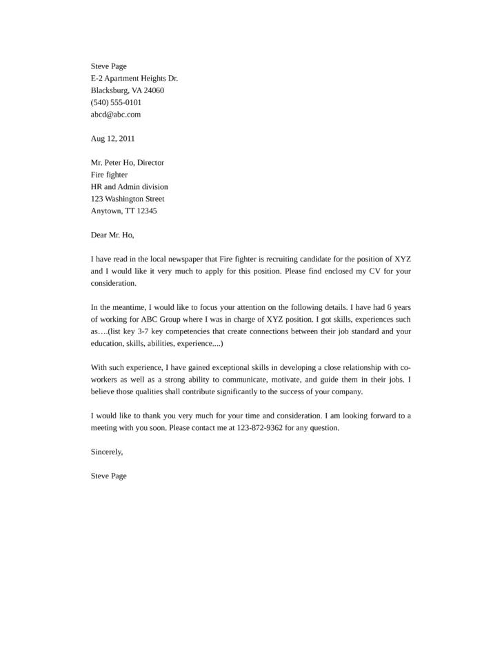 Volunteer Firefighter Cover Letter Registered Nurse Advice Our