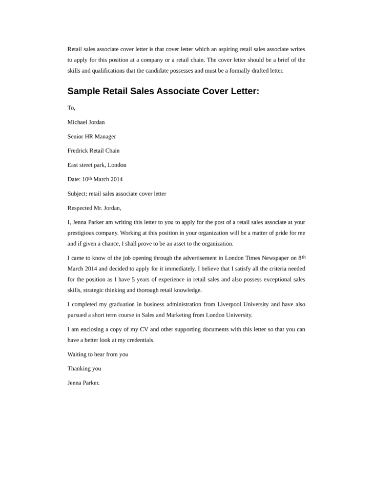 How To Write A Cover Letter For A Retail Job How To Write A How To  Cover Letter For Retail Sales