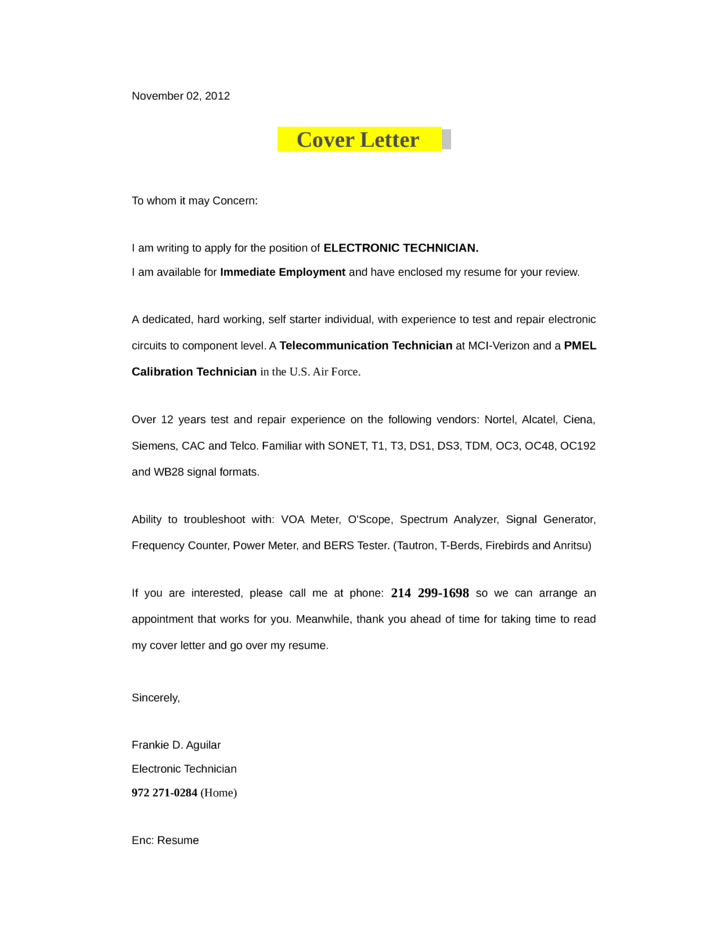 Smartcoverletter Free Cover Letter Writer Electronic Technician Cover Letter Samples And Templates