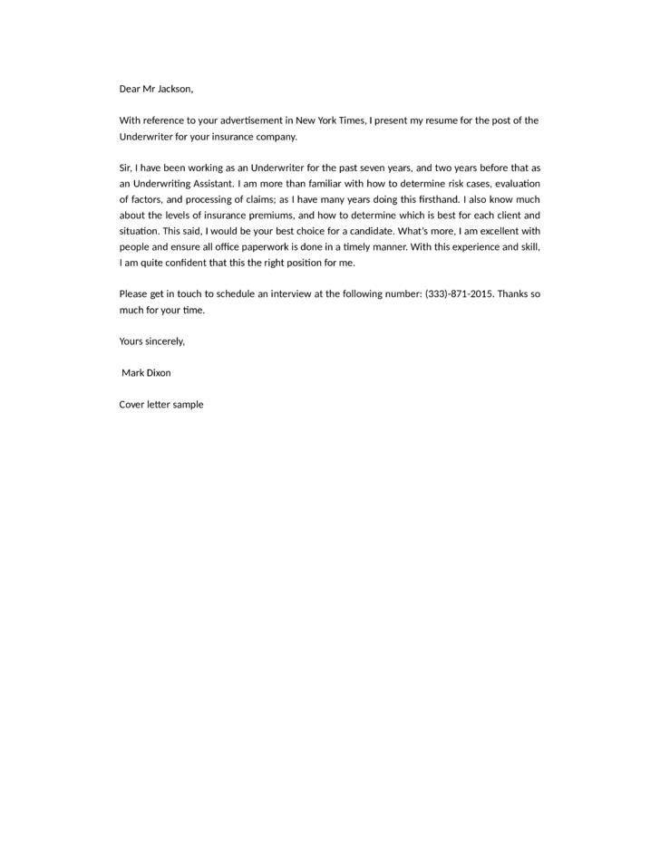 Underwriter Cover Letter Costumepartyrun