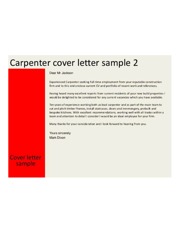 Master Carpenter Cover Letter Samples And Templates. SaveEnlarge