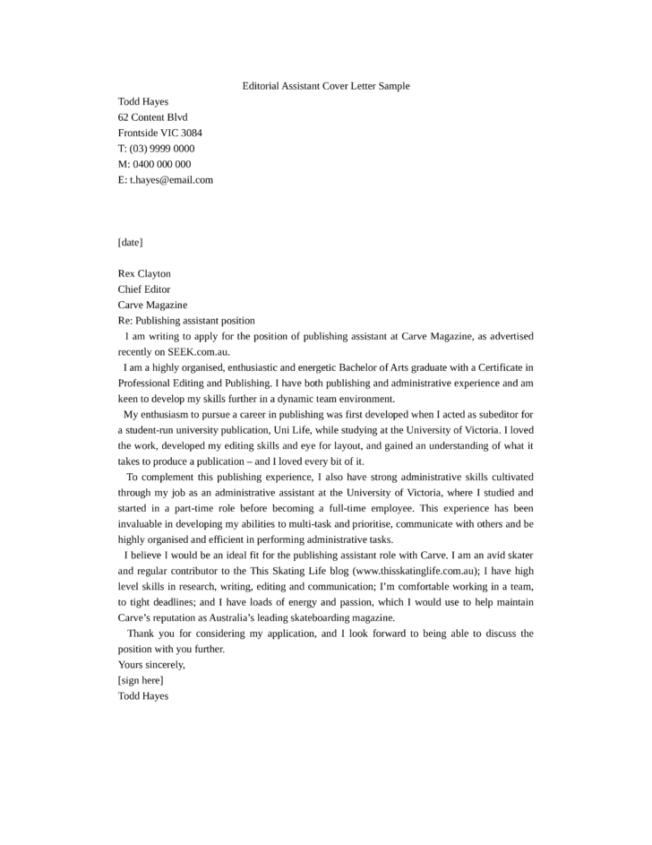 Delicieux Editorial Assistant Cover Letter Example