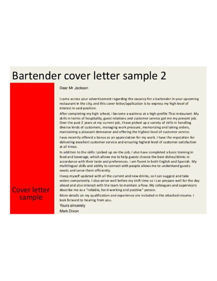 Bartender Resume Samples Jobhero Qualified Restaurant Bartender Cover Letter Samples And