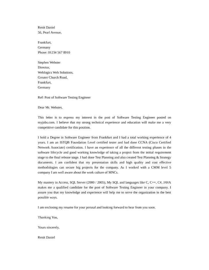 Software Test Engineer Cover Letters. Uat Test Engineer Cover Letter  Download Camera Test Engineer ...