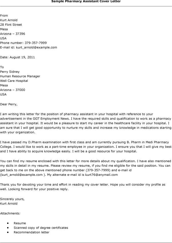 ... Sample Cover Letter For Pharmacy Assistant   Atchafalaya   Recreation Aide  Cover Letter ...