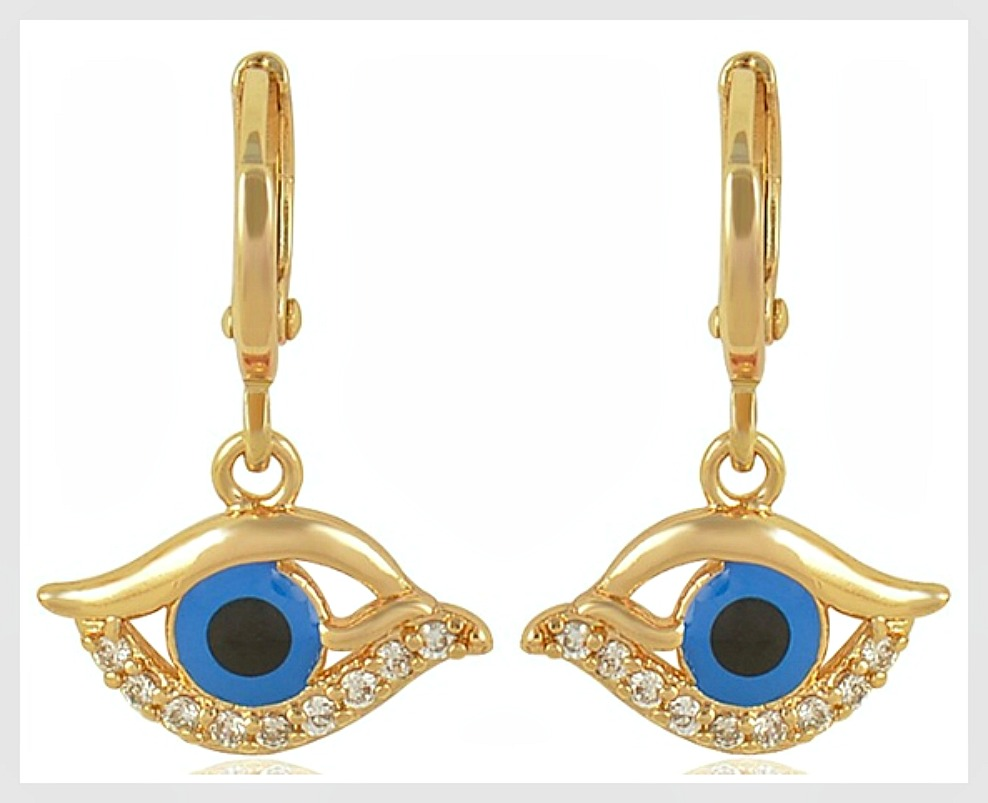 Wholesale Jewelry Gold Filled Dark Blue Enamel Evil Eye Cubic Zirconia 9k Gold Filled Boho Earring Blue Wholesale Black Navy Blue Blue Gold Dangle Earrings Earring