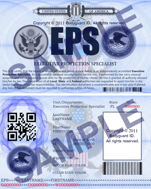 Executive Bodyguard ID Cards Cozmic Design Studio - executive protection specialist