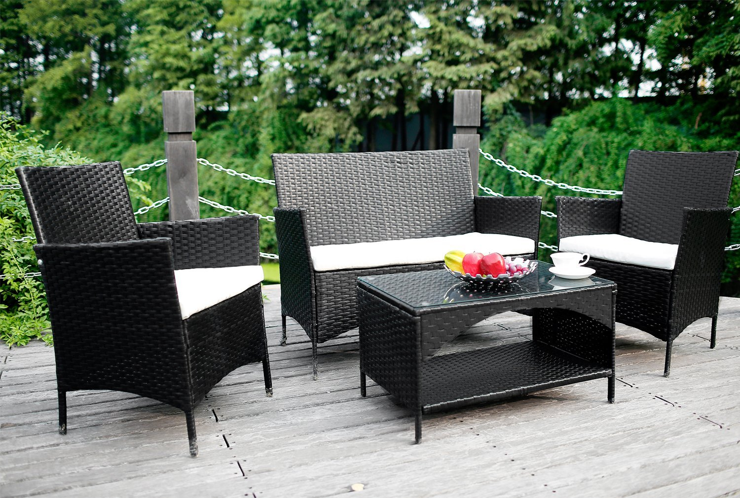 2 Person Rattan Love Sofa Set Review Merax 4 Piece Outdoor Rattan Patio Furniture Set