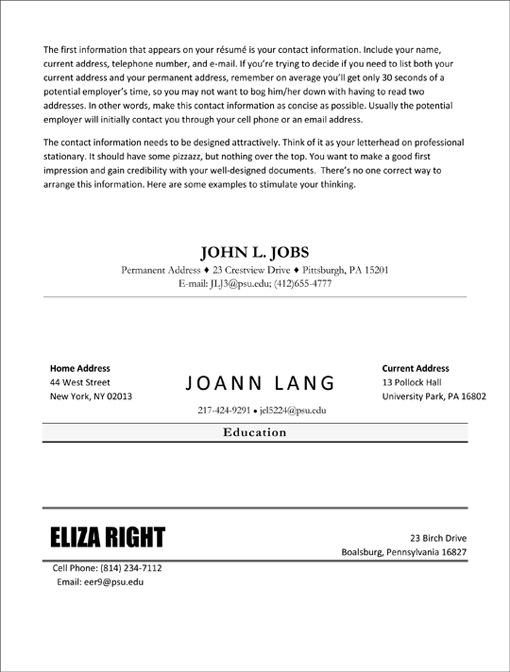 MAKE IT PRETTY Your Résumé Contact Info Giles Writer-in-Residence