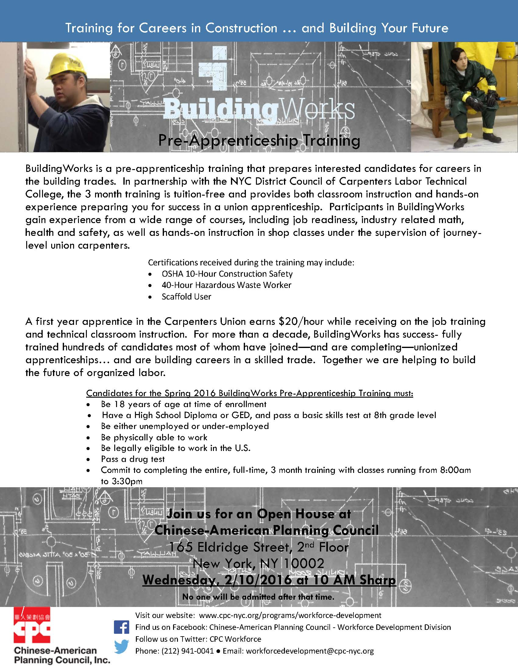 Apprenticeship Job Buildingworks Pre Apprenticeship Training Program Recruitment