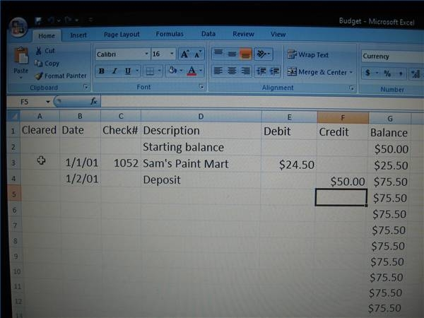 How to Create a Check Register in Excel Pocketsense