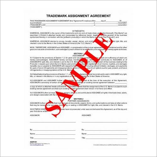 Trademark Assignment Agreement in Karnal,Trademark Assignment