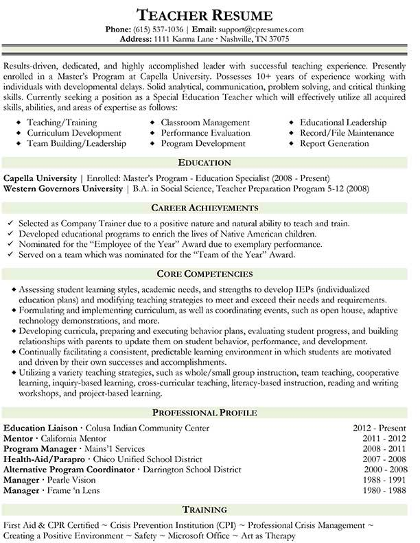 Middle School Science Teacher Resume Inspirenow Computer Science