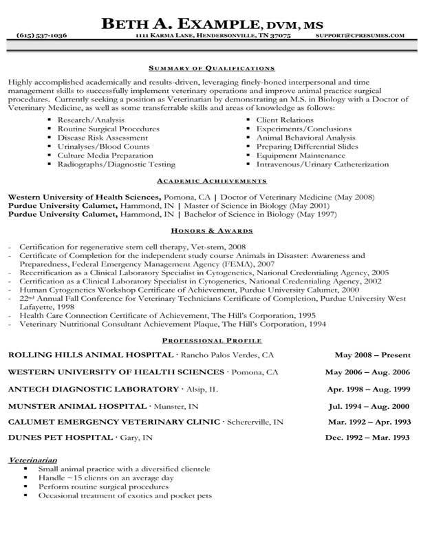 Veterinary Technician Resume Sample Veterinary Cv Sample Picture To Pin On Pinterest Thepinsta
