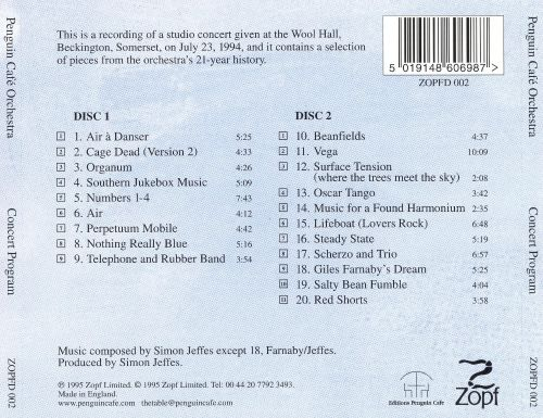 Concert Program - Penguin Cafe Orchestra Songs, Reviews, Credits
