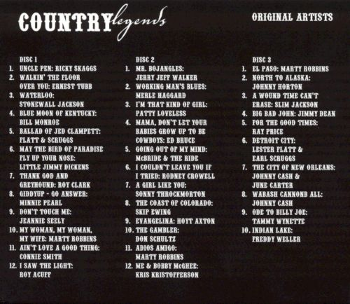 Country Legends 3 Disc Set - Various Artists Songs, Reviews - tony robbins disc