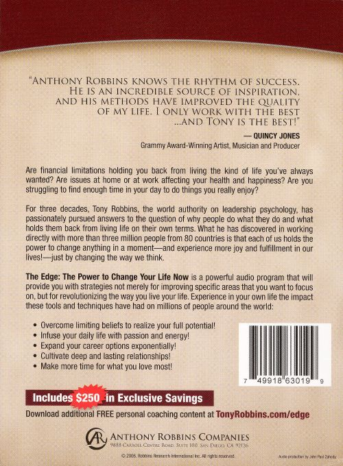 The Edge The Power to Change Your Life Now - Tony Robbins Songs - tony robbins disc