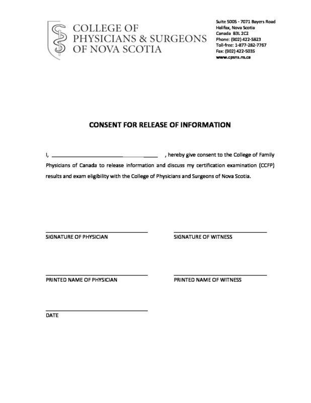 MIS \u2013 CFPC Authorization and Consent Form CPSNS