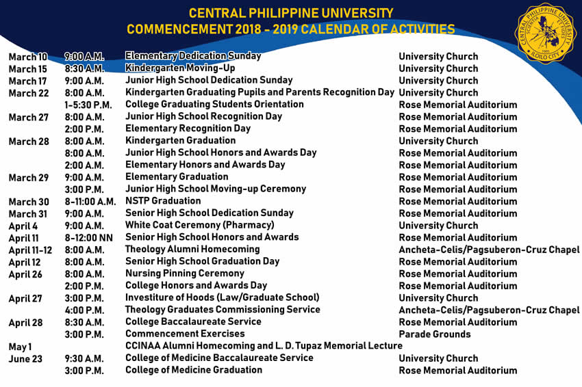 Commencement 2018-2019 Calendar of Activities Central Philippine