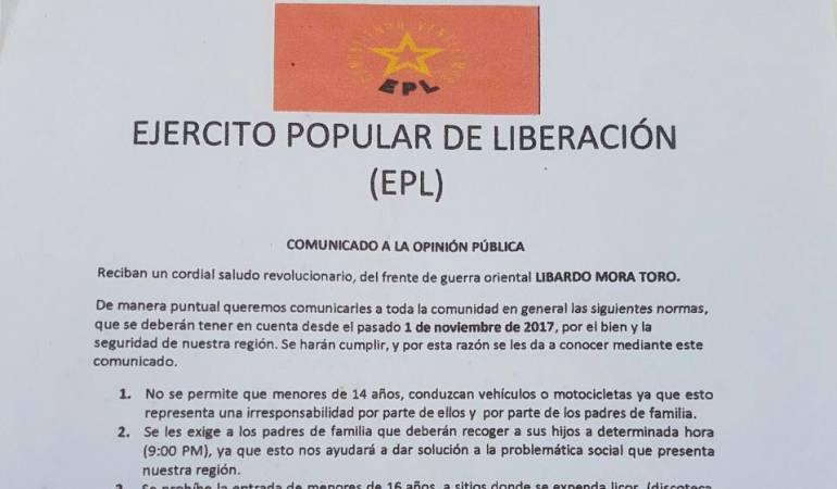 Nuevo panfleto amenazante del Epl cucuta Caracol Radio