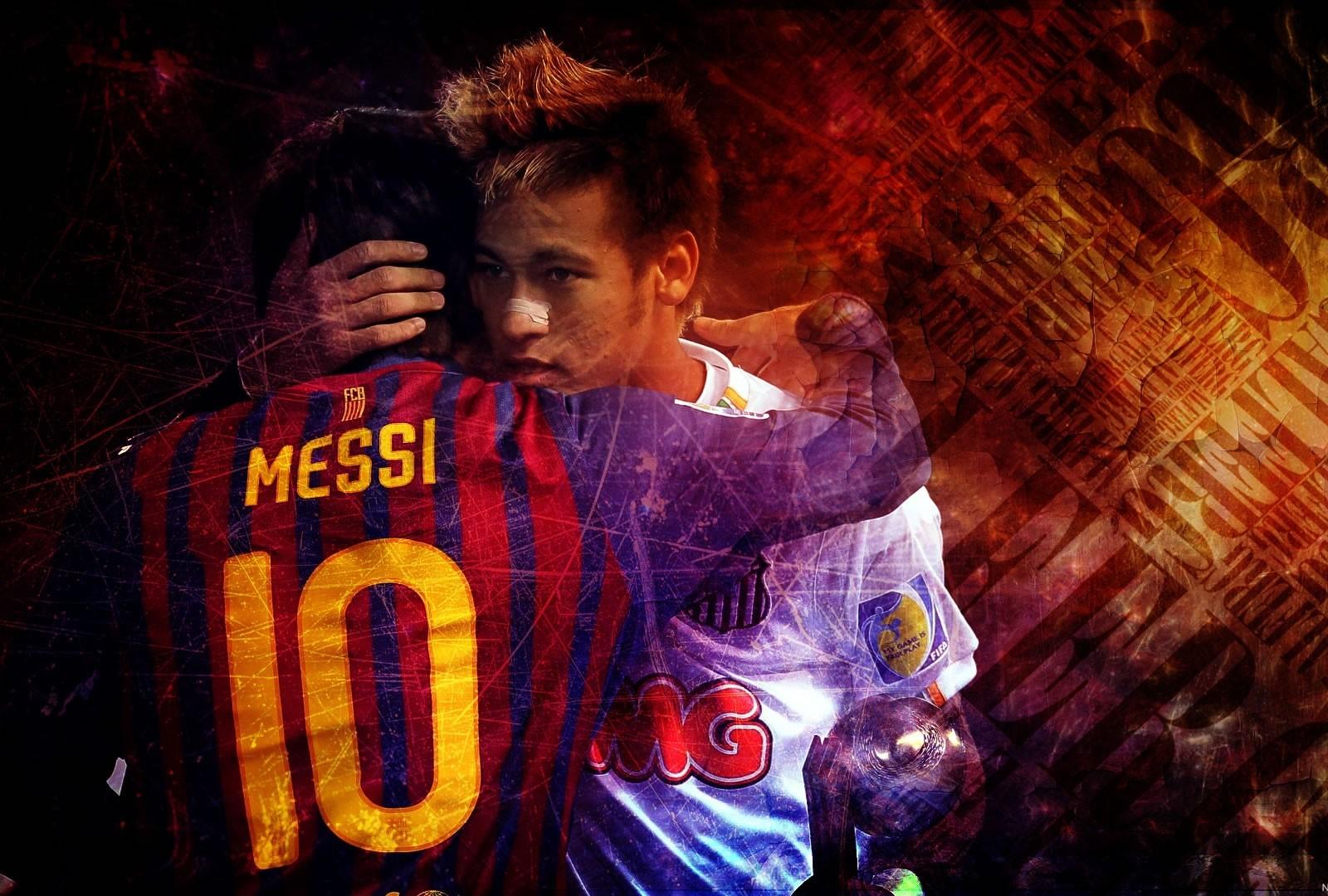 Messi Wallpaper 2014 3d Neymar Hugging Messi Wallpaper Neymar Wallpapers