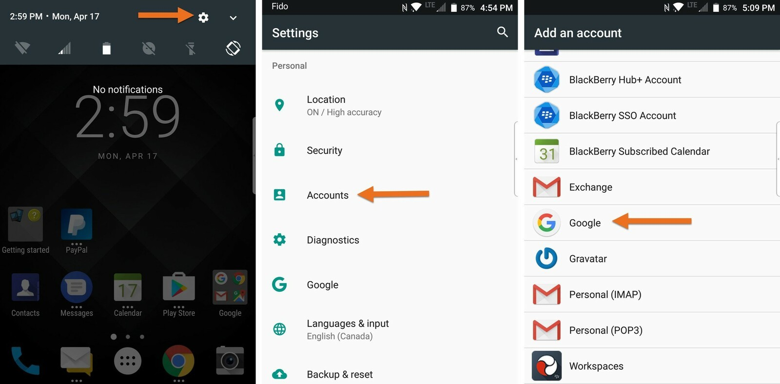 Google Play Konto ändern How To Add Or Change A Google Account On The Blackberry Keyone