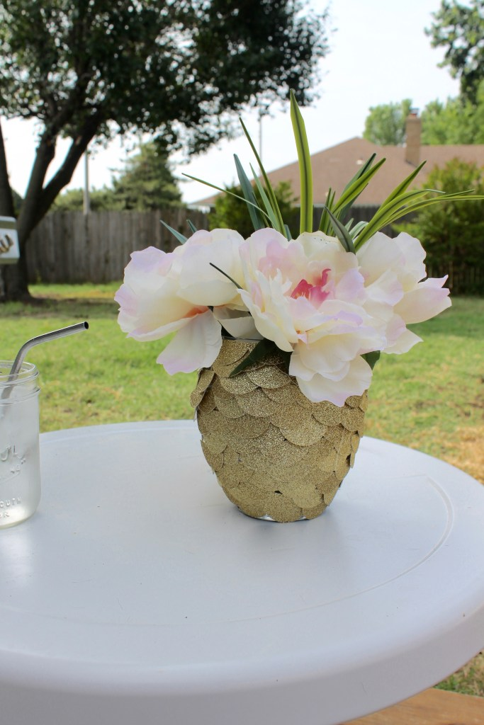 diy glitter pineapple vase clear vase with flowers summertime centerpiece