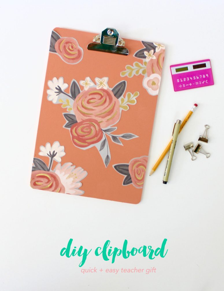 For an easy back to school gift for teachers that they'll use all year long, try your hand at creating his simple clipboard ! Using just Mod Podge, a clipboard and a pretty piece of scrapbook paper, it's the perfect gift to say thank you!