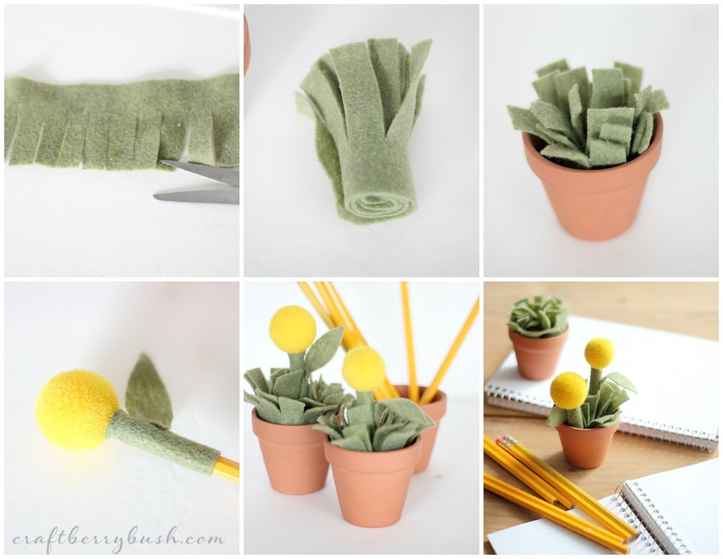 Homemade Pencil Holders Plant Pot Pencil Holder And Pencil Toppers
